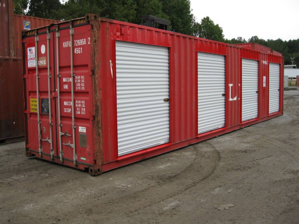 40ft mobile office contianer with roll up doors red