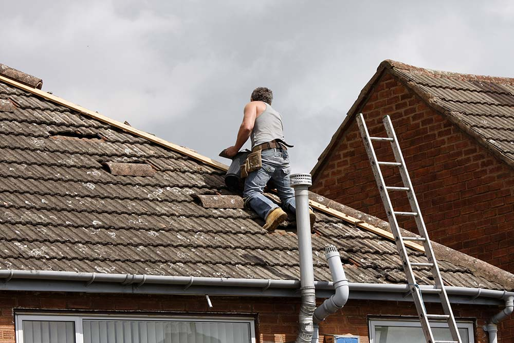 roof repair underway